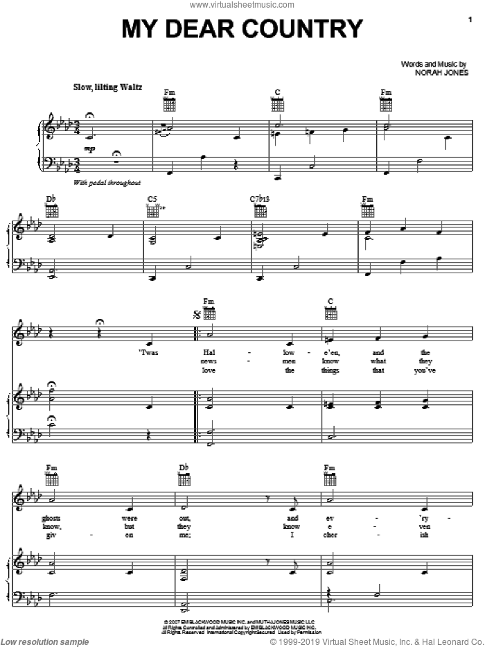 My Dear Country sheet music for voice, piano or guitar by Norah Jones. Score Image Preview.