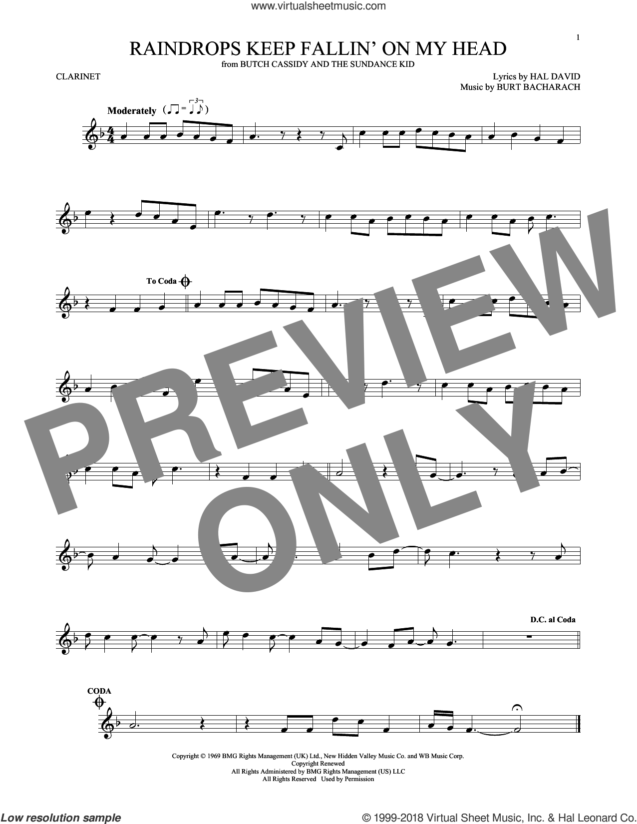 Raindrops Keep Fallin' On My Head sheet music for clarinet solo by Burt Bacharach, B.J. Thomas and Hal David, intermediate skill level