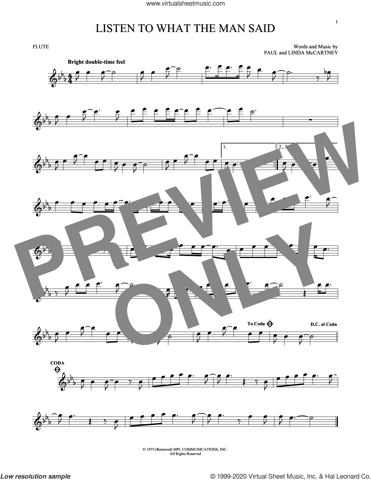 Listen To What The Man Said sheet music for flute solo by Wings, Linda McCartney and Paul McCartney, intermediate skill level