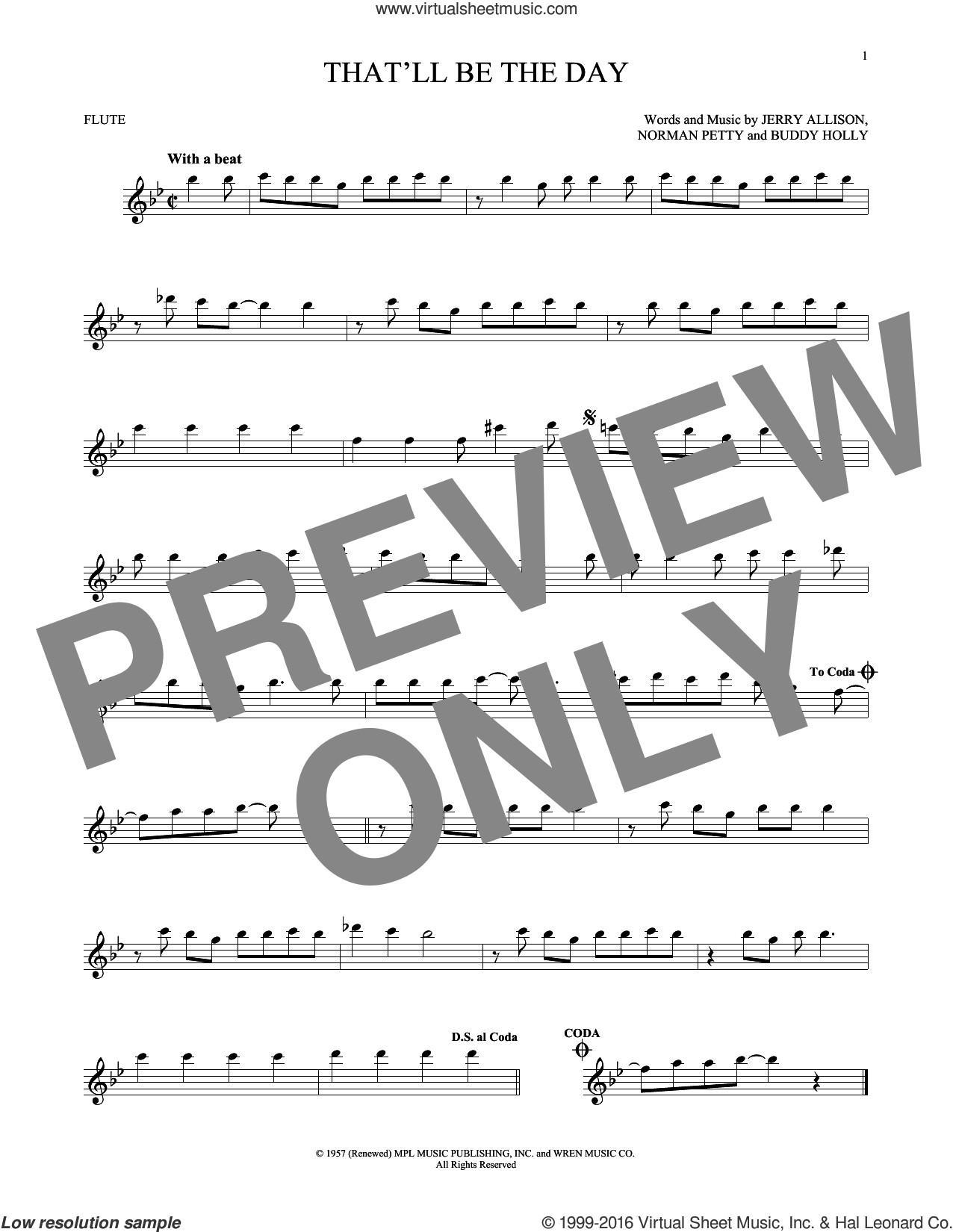 That'll Be The Day sheet music for flute solo by Norman Petty, Buddy Holly and Jerry Allison. Score Image Preview.