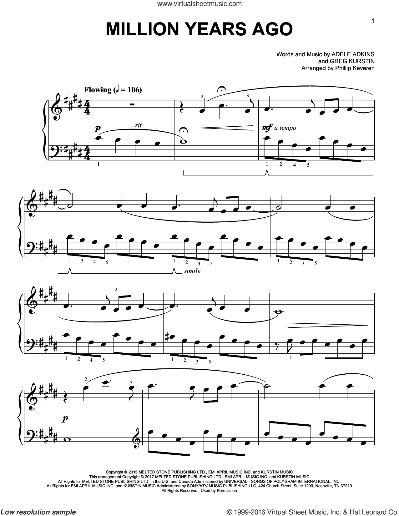 Million Years Ago sheet music for piano solo by Gregory Kurstin, Phillip Keveren, Adele and Adele Adkins, easy skill level