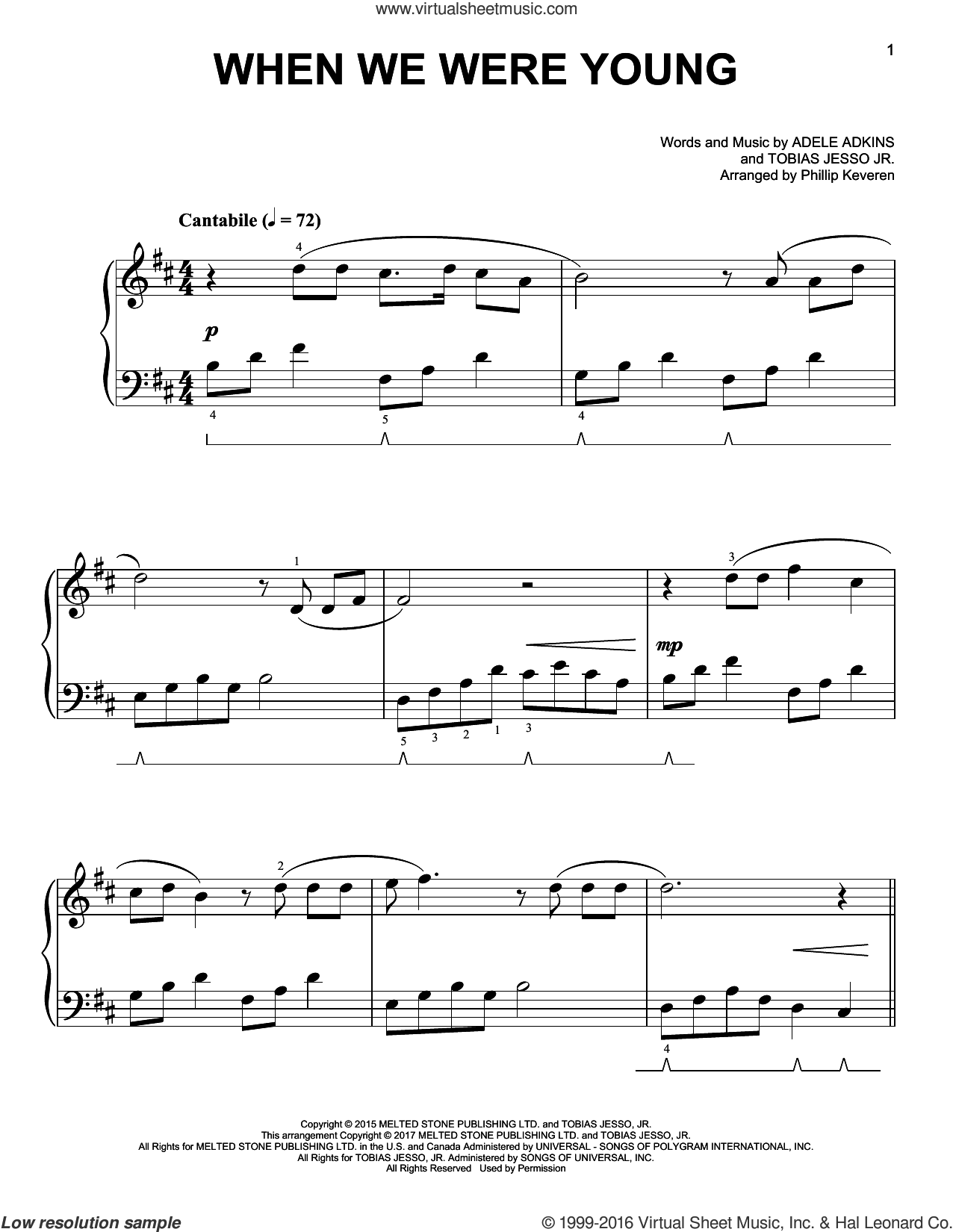When We Were Young sheet music for piano solo by Phillip Keveren and Adele, easy. Score Image Preview.
