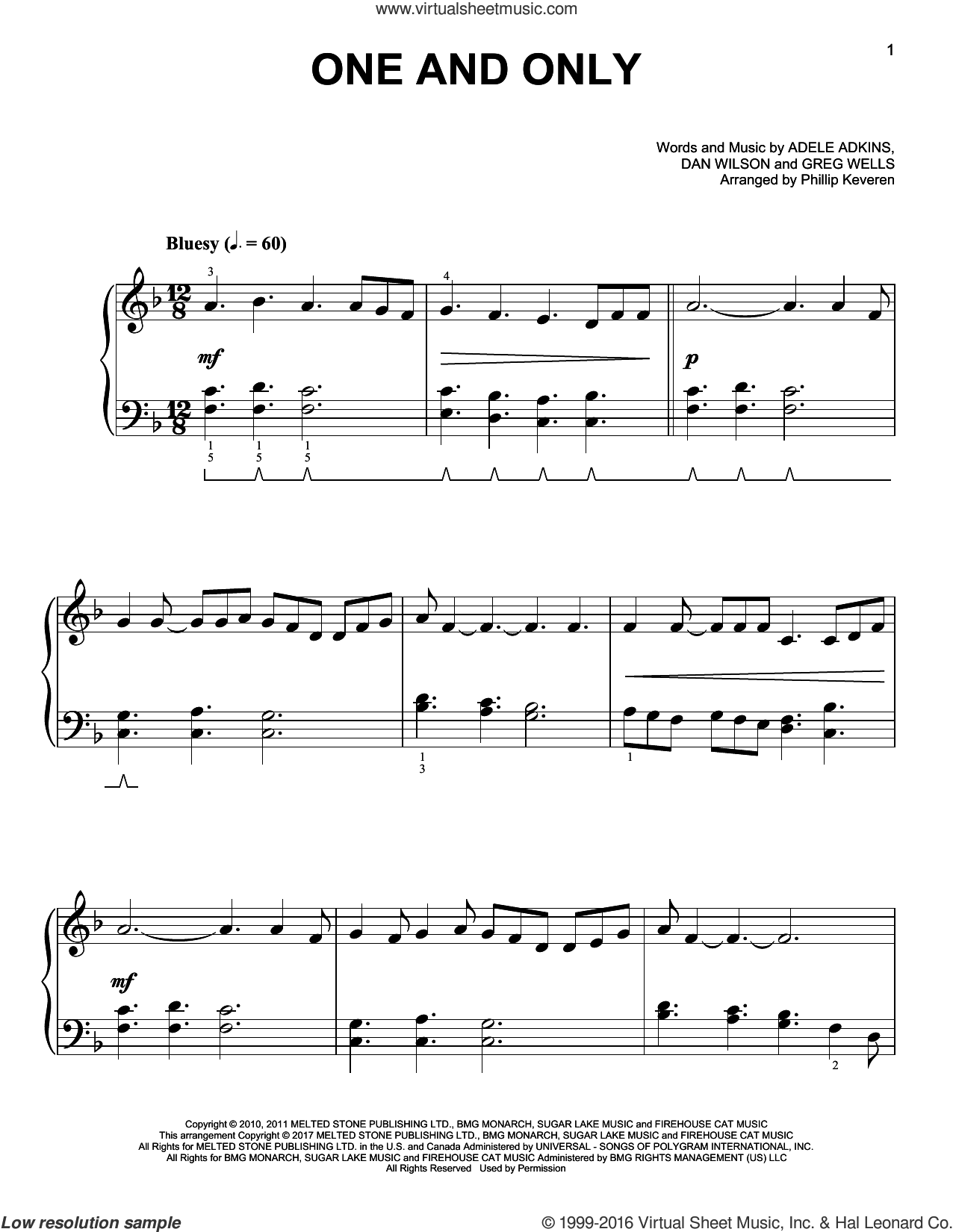 One And Only sheet music for piano solo by Dan Wilson, Phillip Keveren, Adele, Adele Adkins and Greg Wells, wedding score, easy skill level