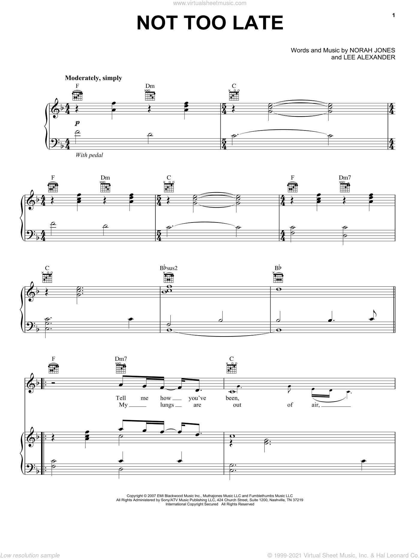 Not Too Late sheet music for voice, piano or guitar by Norah Jones and Lee Alexander, intermediate skill level