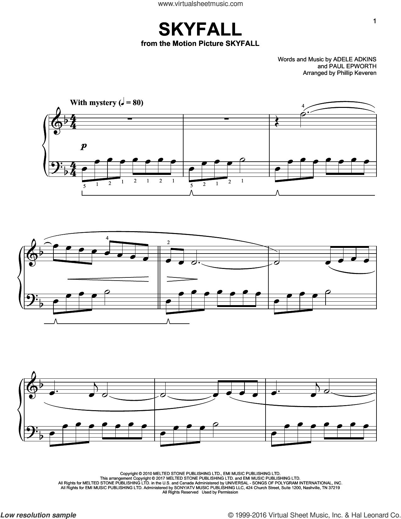 Skyfall sheet music for piano solo by Paul Epworth, Phillip Keveren and Adele, easy. Score Image Preview.