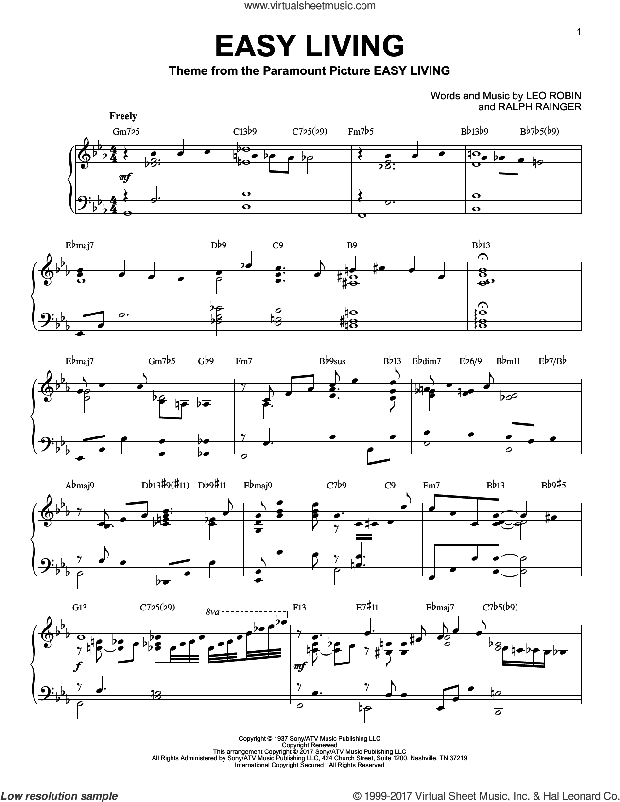 Easy Living [Jazz version] sheet music for piano solo by Billie Holiday, Leo Robin and Ralph Rainger, intermediate skill level