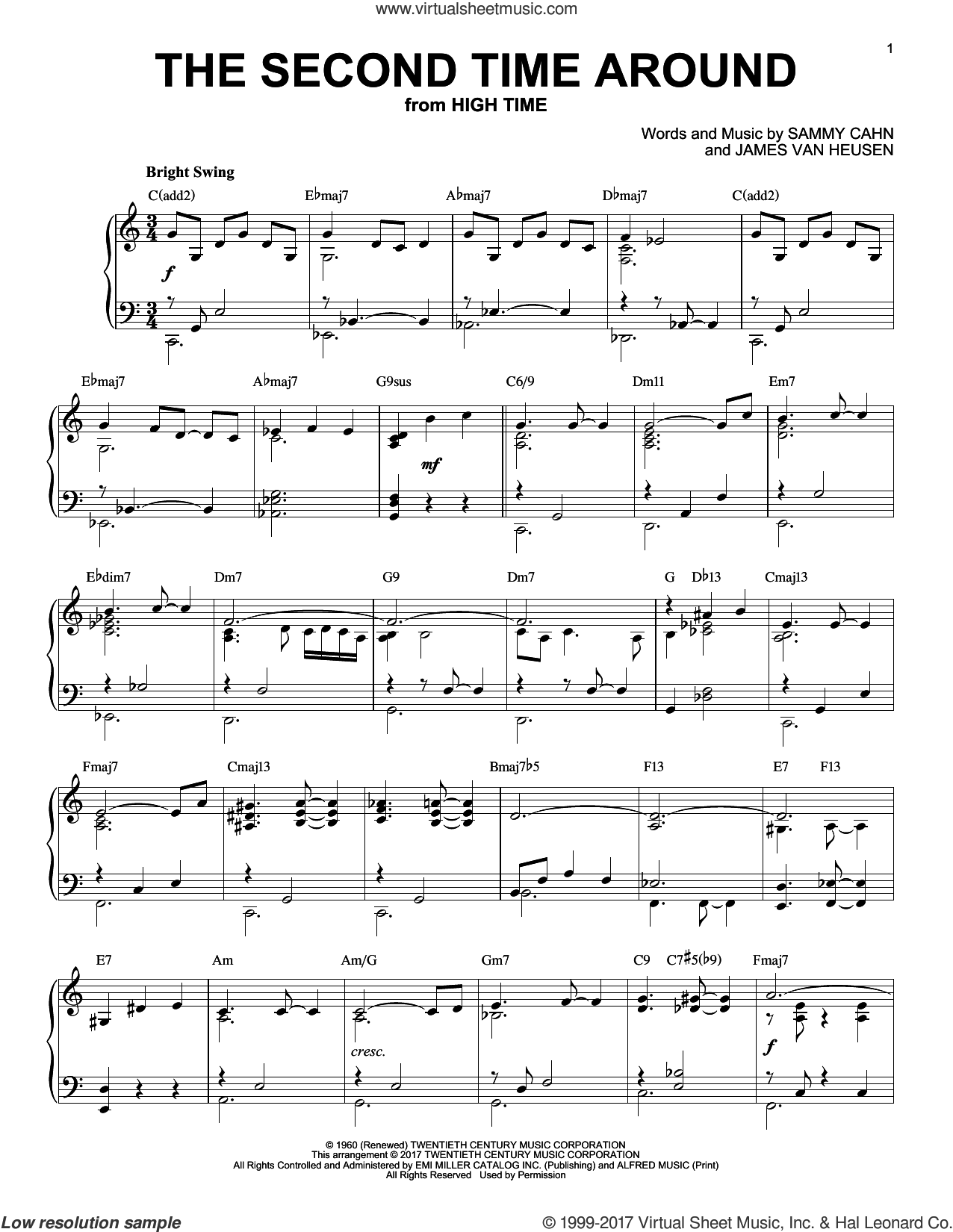 The Second Time Around sheet music for piano solo by Sammy Cahn and Jimmy van Heusen, intermediate skill level