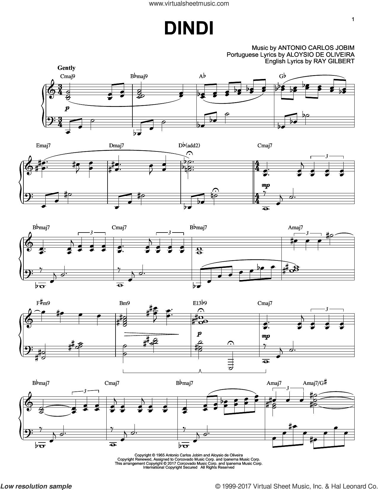 Dindi sheet music for piano solo by Antonio Carlos Jobim, Aloysio de Oliveira and Ray Gilbert, intermediate skill level