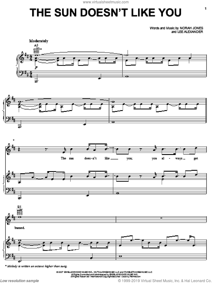 The Sun Doesn't Like You sheet music for voice, piano or guitar by Norah Jones and Lee Alexander, intermediate skill level