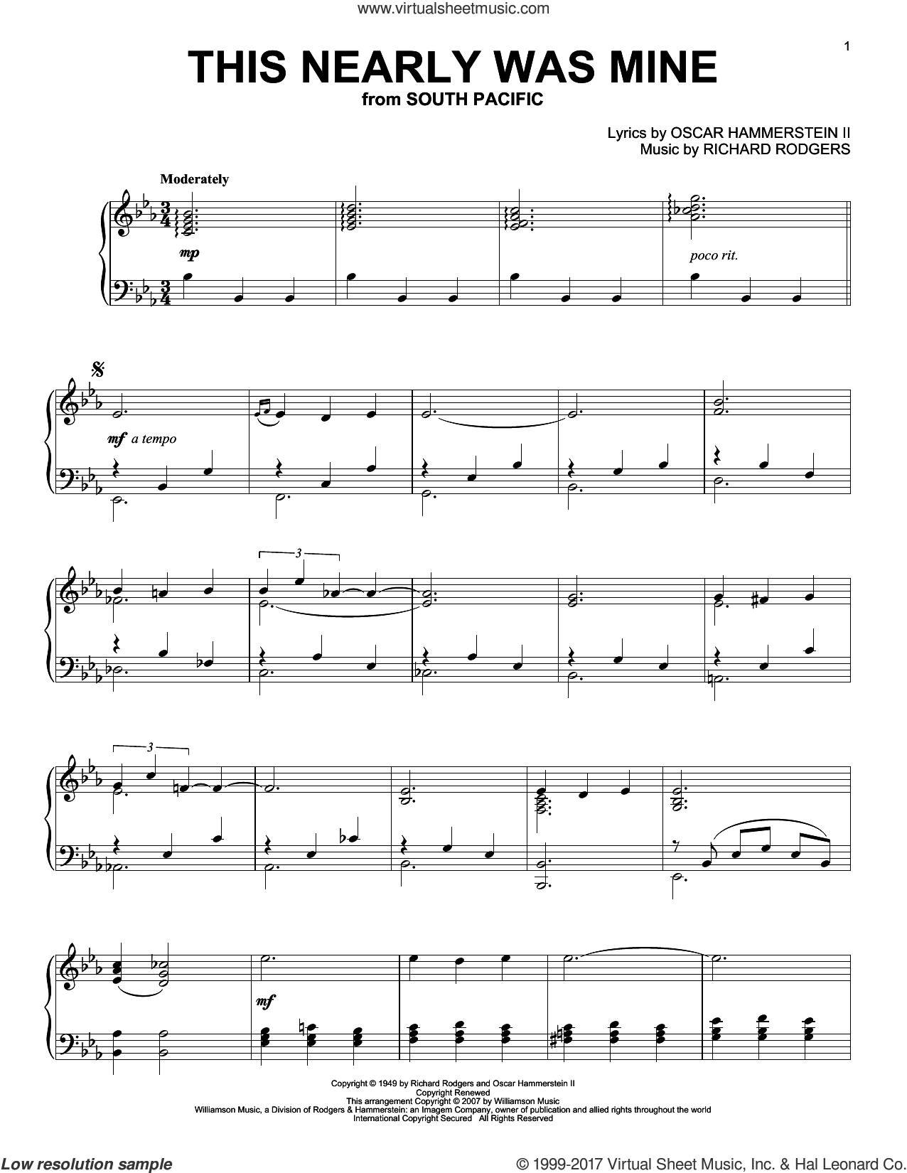 This Nearly Was Mine sheet music for piano solo by Richard Rodgers and Oscar II Hammerstein, intermediate skill level