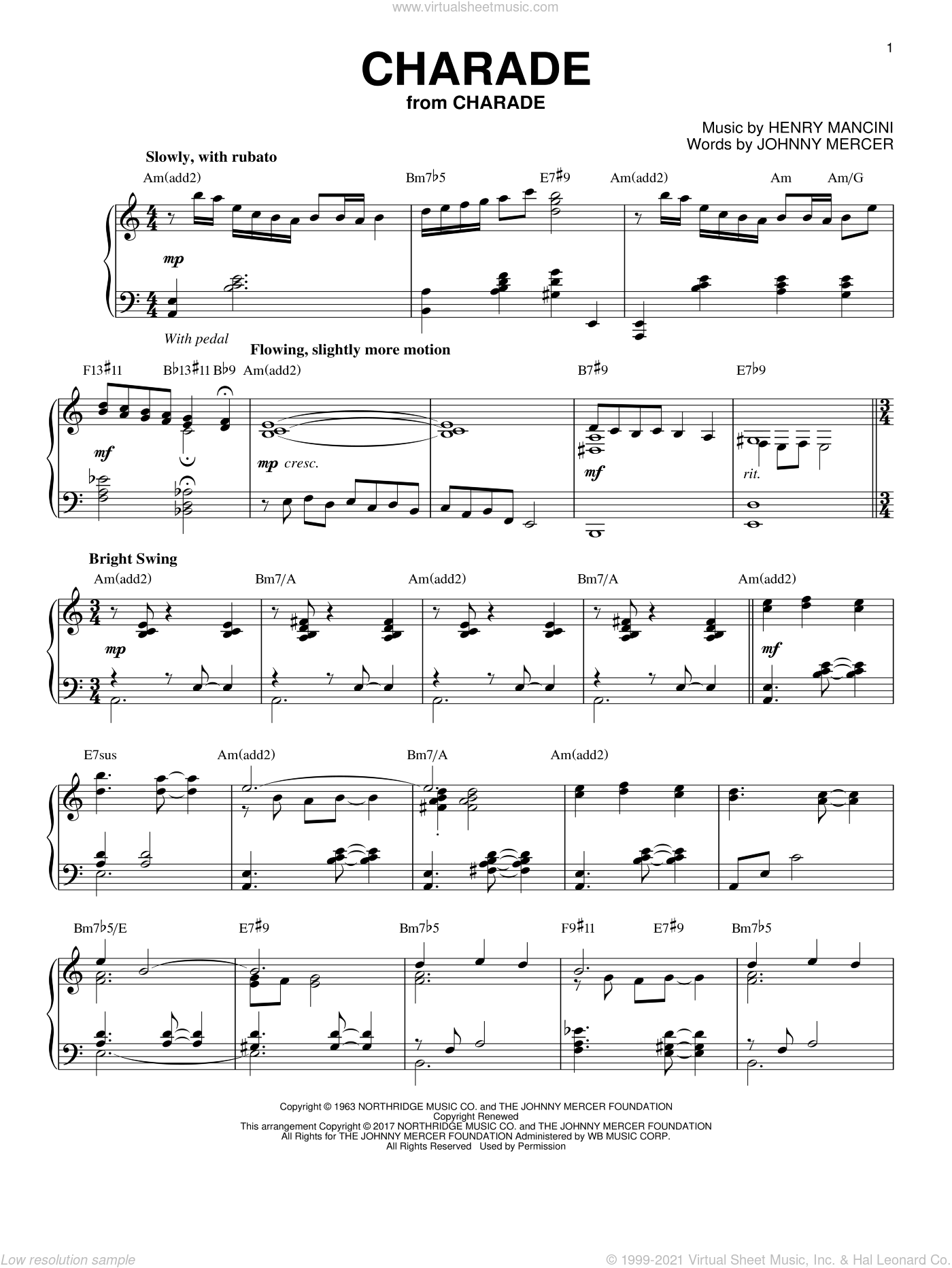 Charade [Jazz version] sheet music for piano solo by Henry Mancini, Andy Williams, Sammy Kaye and Johnny Mercer, intermediate skill level