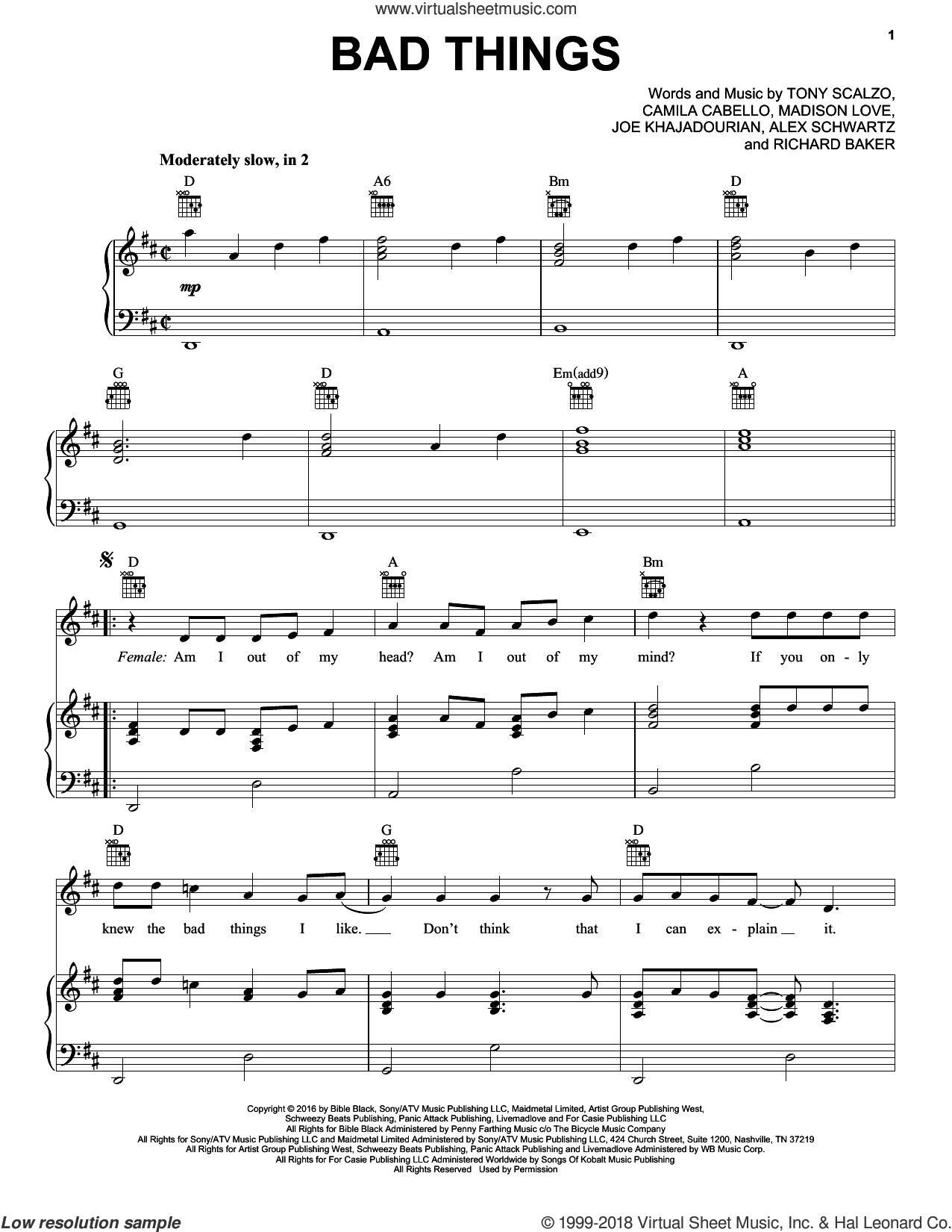 Bad Things sheet music for voice, piano or guitar by Machine Gun Kelly and Camila Cabello, Alex Schwartz, Camila Cabello, Colson Baker, Joe Khajadourian, Madison Love and Tony Scalzo, intermediate skill level