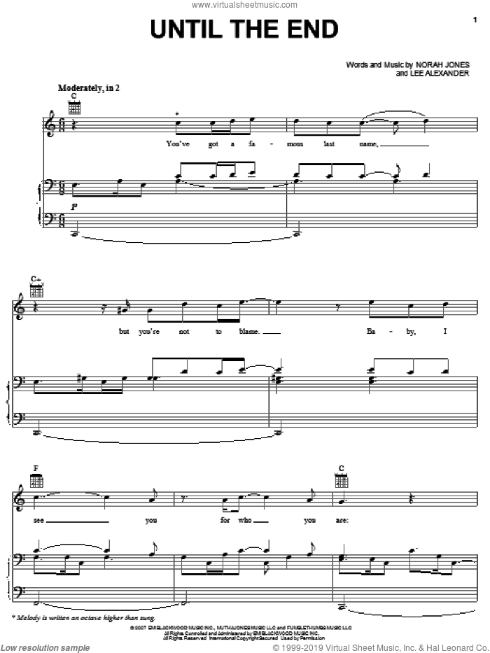 Until The End sheet music for voice, piano or guitar by Norah Jones and Lee Alexander, intermediate skill level