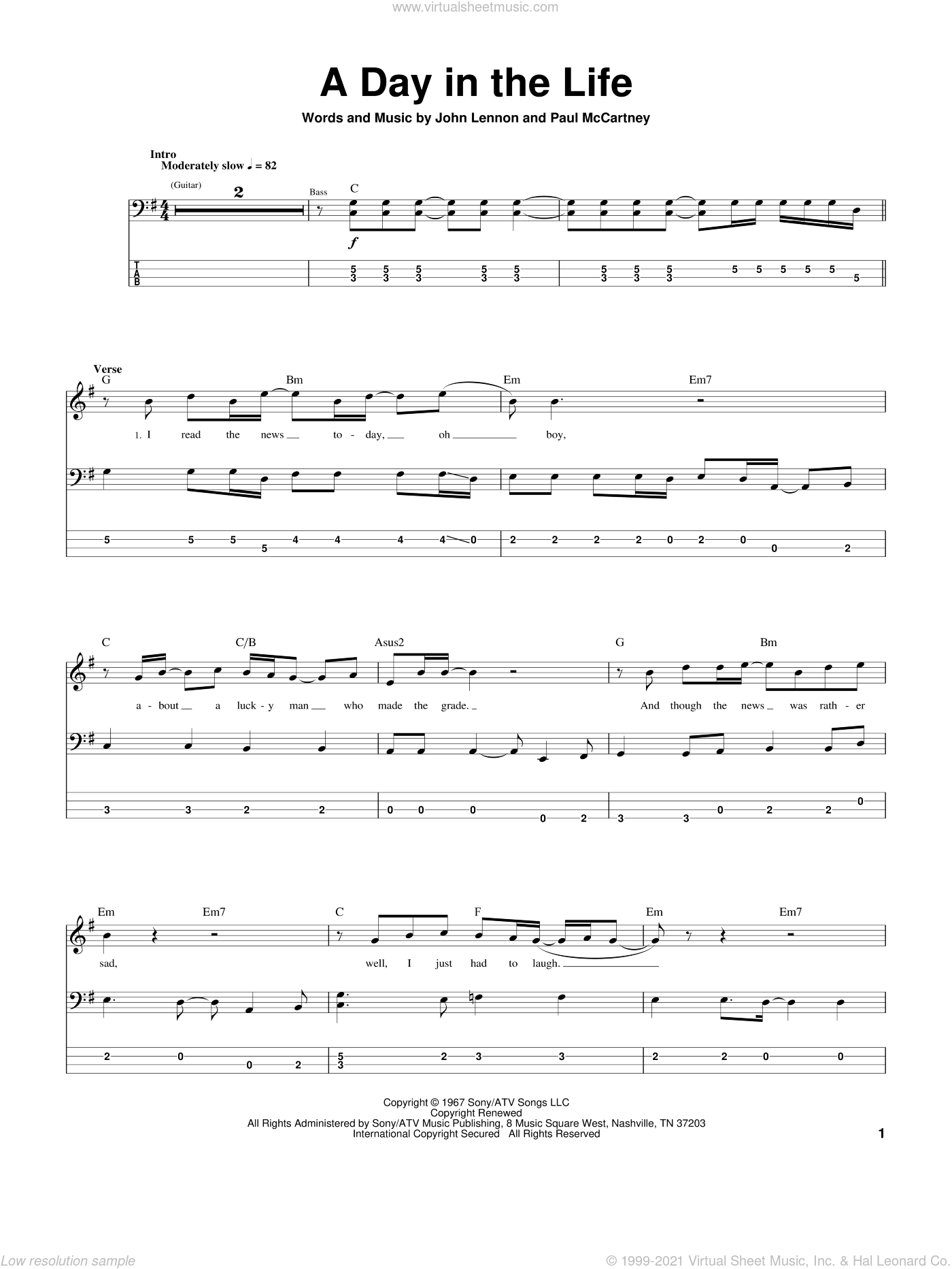 A Day In The Life sheet music for bass (tablature) (bass guitar) by Paul McCartney, The Beatles and John Lennon. Score Image Preview.