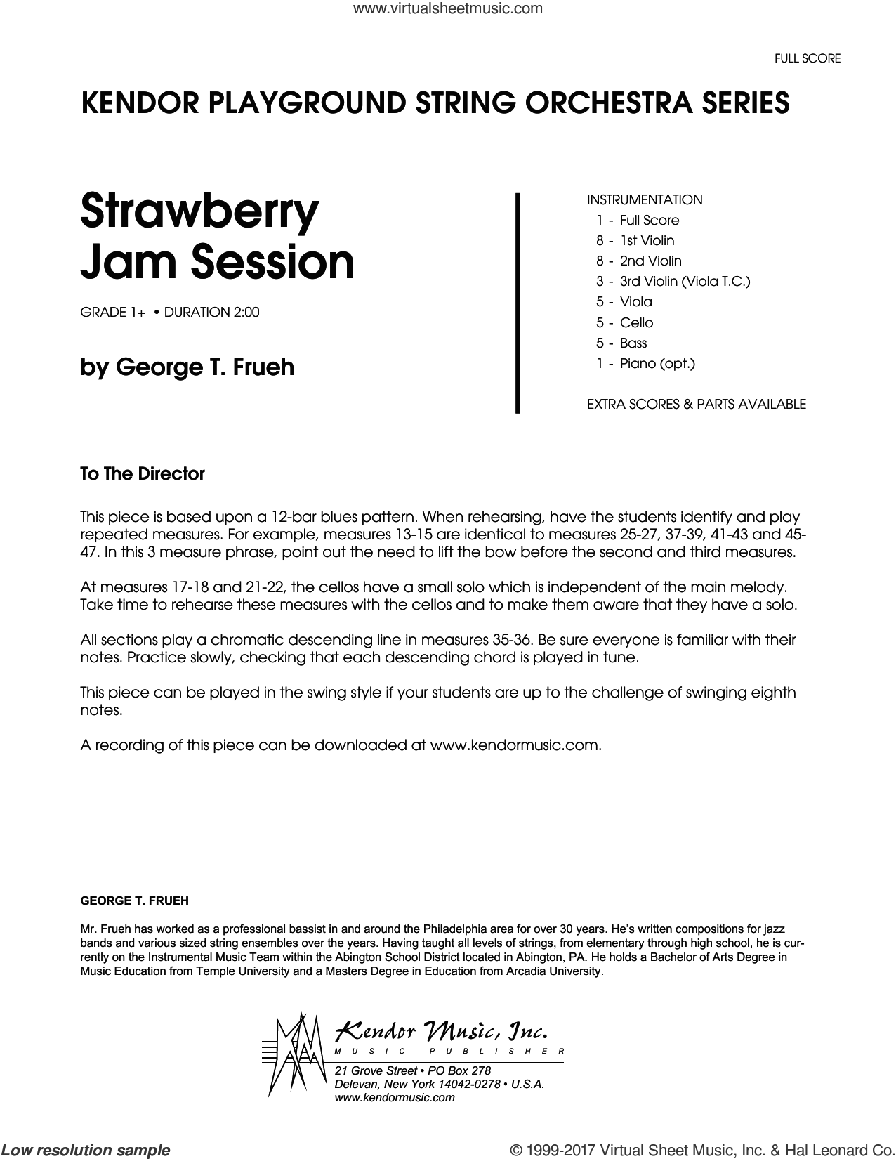 Strawberry Jam Session (COMPLETE) sheet music for orchestra by George T. Frueh, intermediate. Score Image Preview.