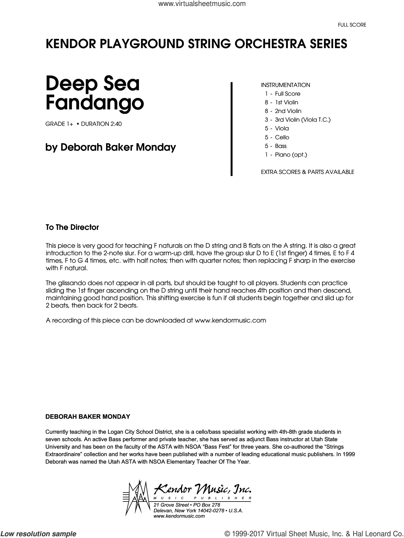 Deep Sea Fandango (COMPLETE) sheet music for orchestra by Deborah Baker Monday, intermediate skill level