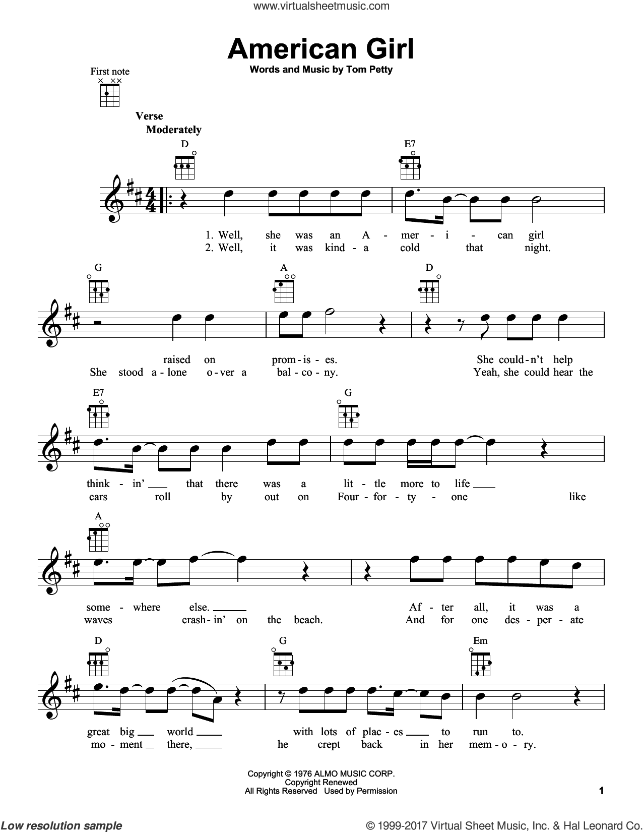 American Girl sheet music for ukulele by Tom Petty, intermediate skill level