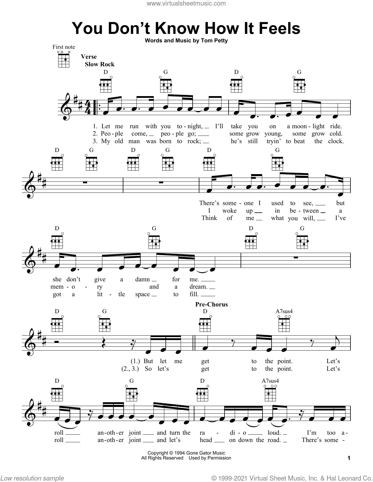 You Don't Know How It Feels sheet music for ukulele by Tom Petty, intermediate skill level