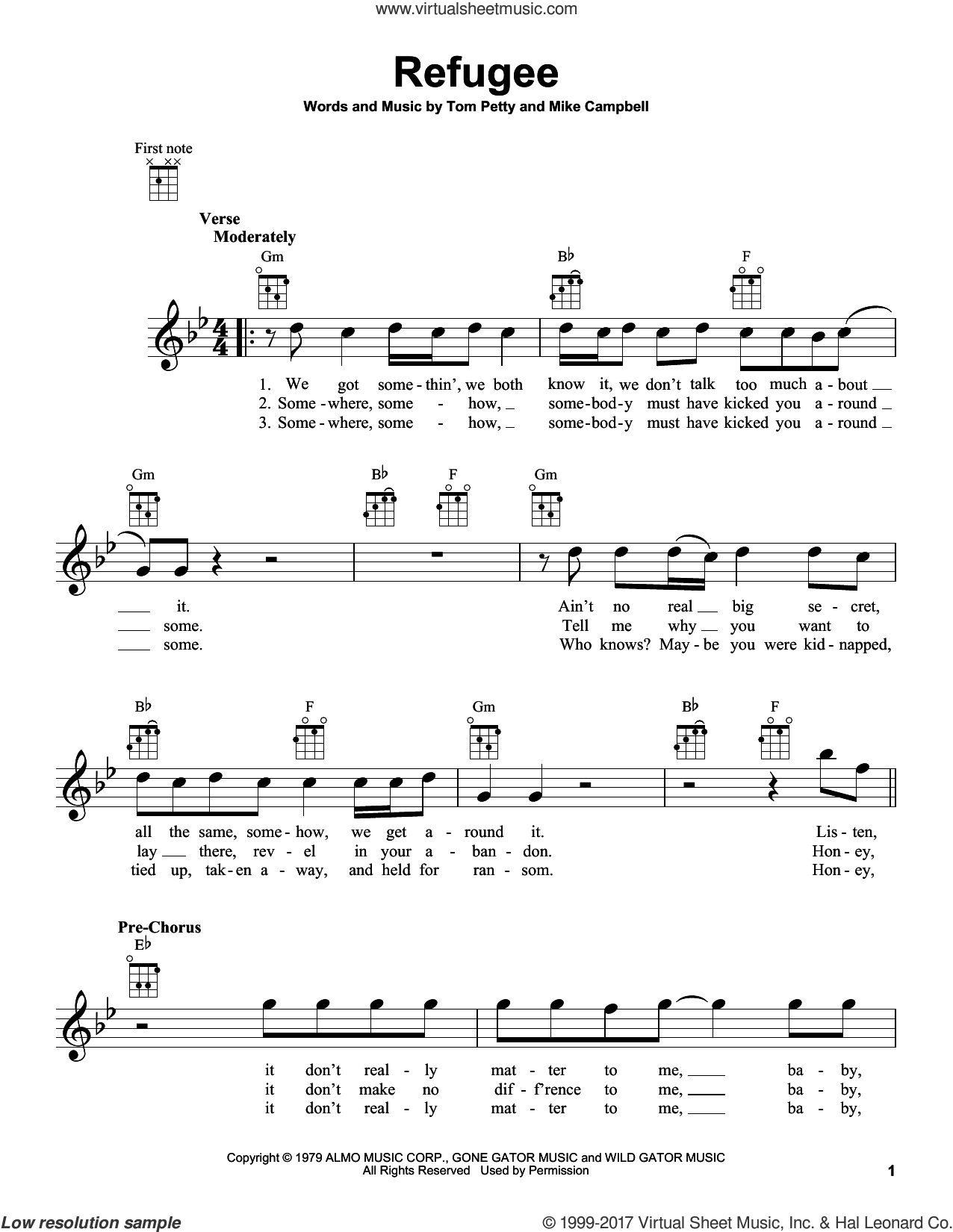 Refugee sheet music for ukulele by Tom Petty and Mike Campbell, intermediate skill level