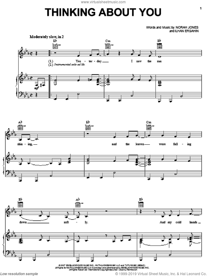 Thinking About You sheet music for voice, piano or guitar by Norah Jones, intermediate voice, piano or guitar. Score Image Preview.