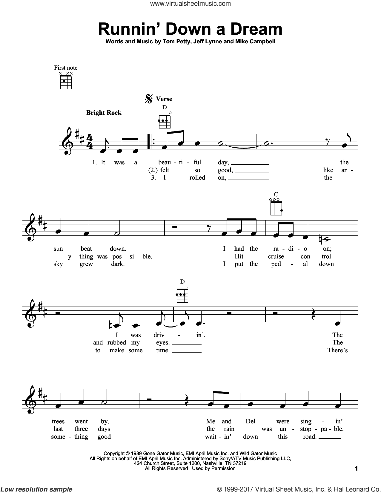 Runnin' Down A Dream sheet music for ukulele by Tom Petty, Jeff Lynne and Mike Campbell, intermediate skill level