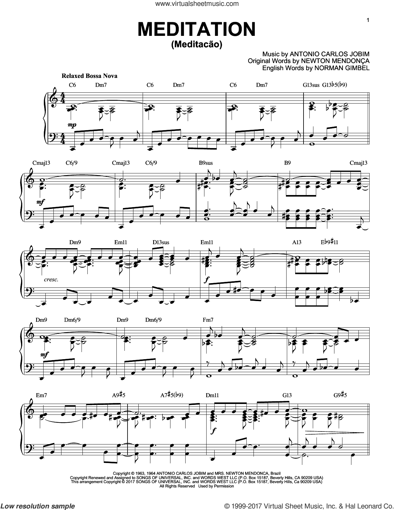 Meditation (Meditacao) [Jazz version] sheet music for piano solo by Norman Gimbel, Charlie Byrd w/The Walter Raim Strings, Antonio Carlos Jobim, Newton Mendonça and Newton Mendonca, intermediate skill level