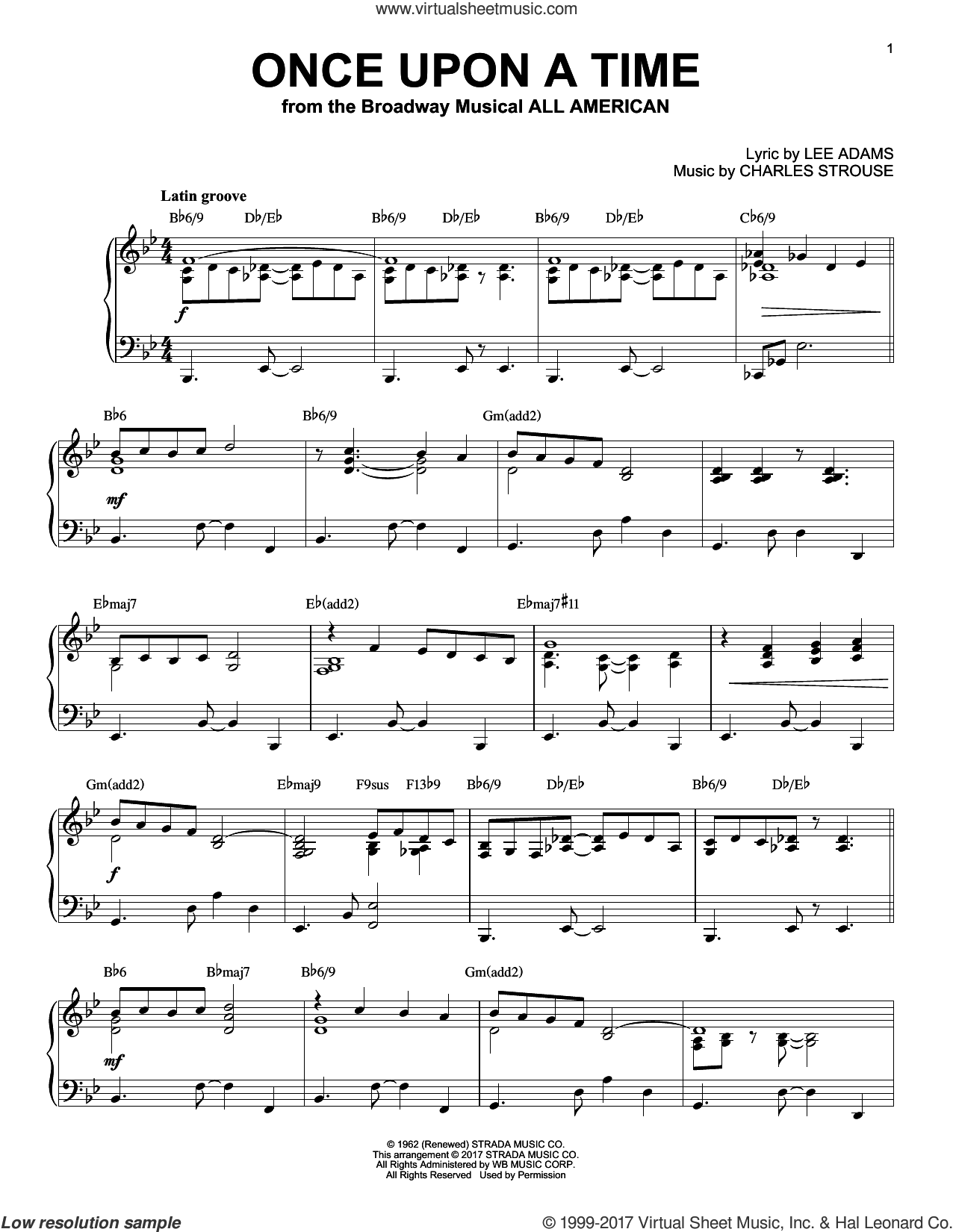 Once Upon A Time [Jazz version] sheet music for piano solo by Charles Strouse and Lee Adams, intermediate skill level