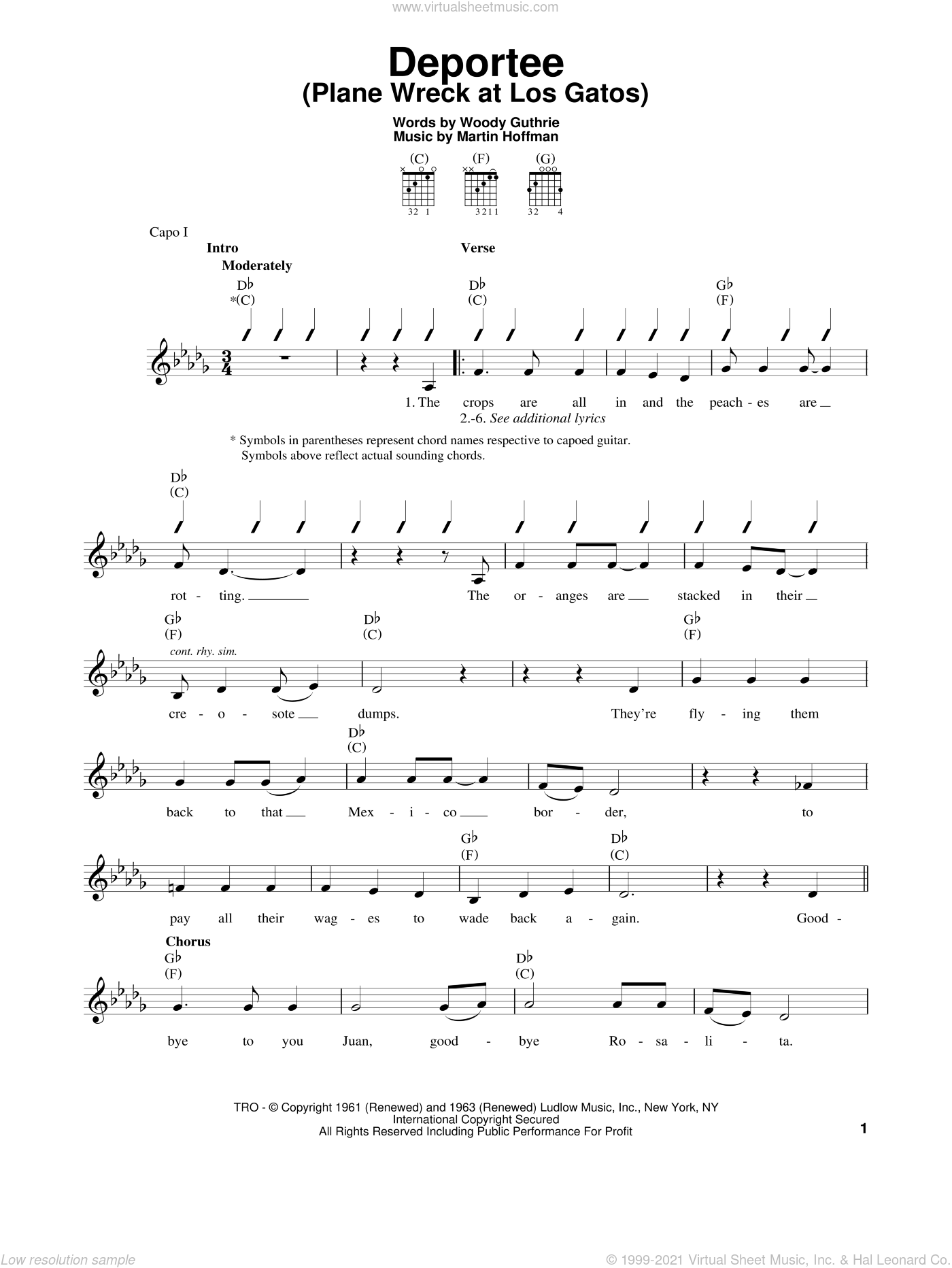 Deportee (Plane Wreck At Los Gatos) sheet music for guitar solo (chords) by Martin Hoffman and Woody Guthrie. Score Image Preview.