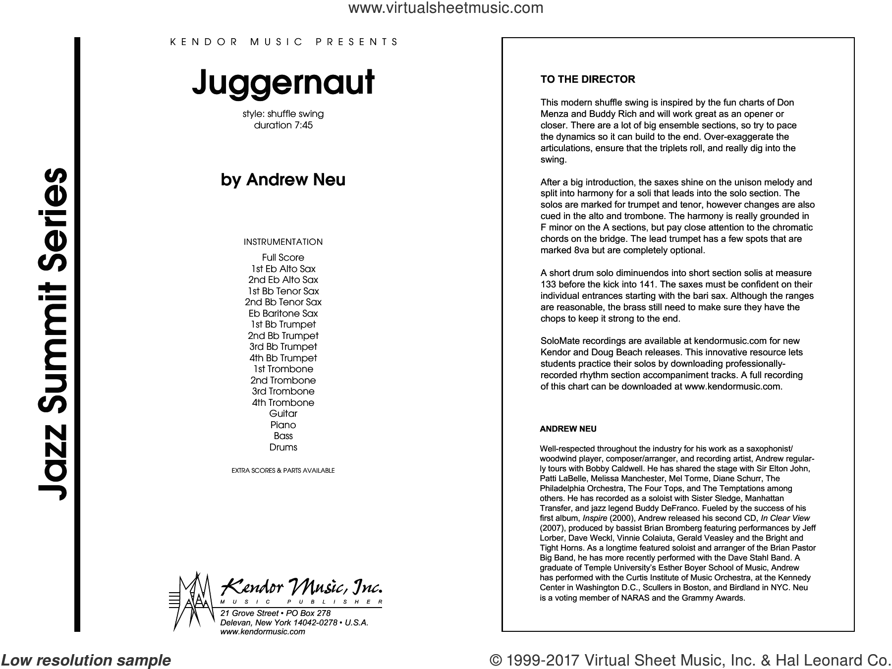 Juggernaut (COMPLETE) sheet music for jazz band by Andrew Neu, intermediate skill level