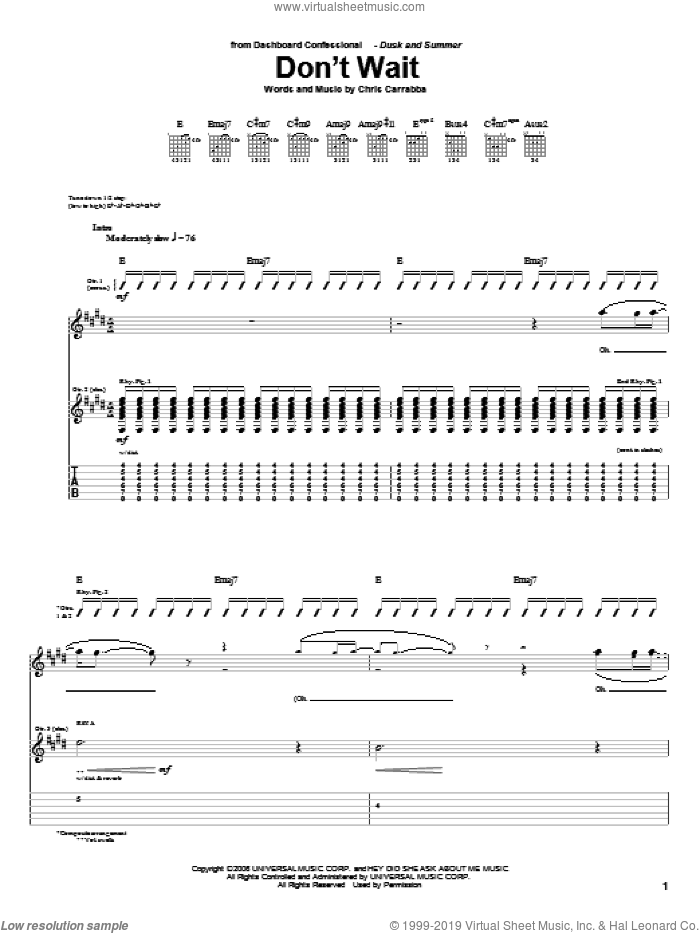 Don't Wait sheet music for guitar (tablature) by Dashboard Confessional, intermediate guitar (tablature). Score Image Preview.