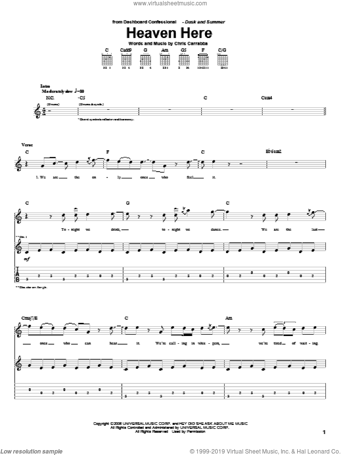 Heaven Here sheet music for guitar (tablature) by Chris Carrabba and Dashboard Confessional. Score Image Preview.