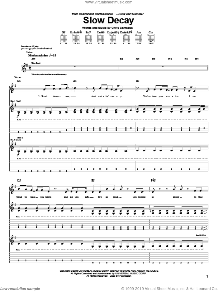 Slow Decay sheet music for guitar (tablature) by Chris Carrabba and Dashboard Confessional. Score Image Preview.