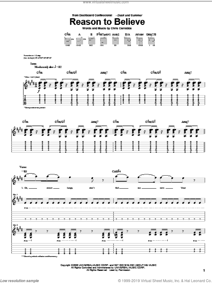 Reason To Believe sheet music for guitar (tablature) by Dashboard Confessional and Chris Carrabba, intermediate skill level
