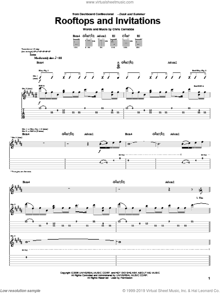 Rooftops And Invitations sheet music for guitar (tablature) by Chris Carrabba and Dashboard Confessional. Score Image Preview.