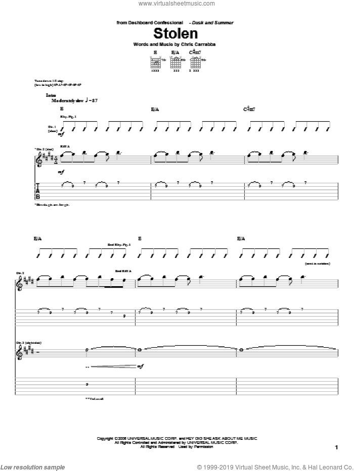 Stolen sheet music for guitar (tablature) by Dashboard Confessional. Score Image Preview.