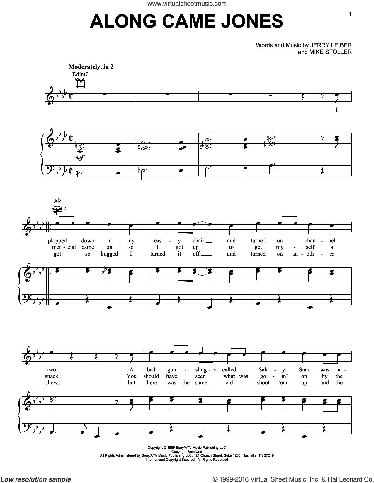 Along Came Jones sheet music for voice, piano or guitar by The Coasters, Leiber & Stoller and Mike Stoller, intermediate voice, piano or guitar. Score Image Preview.