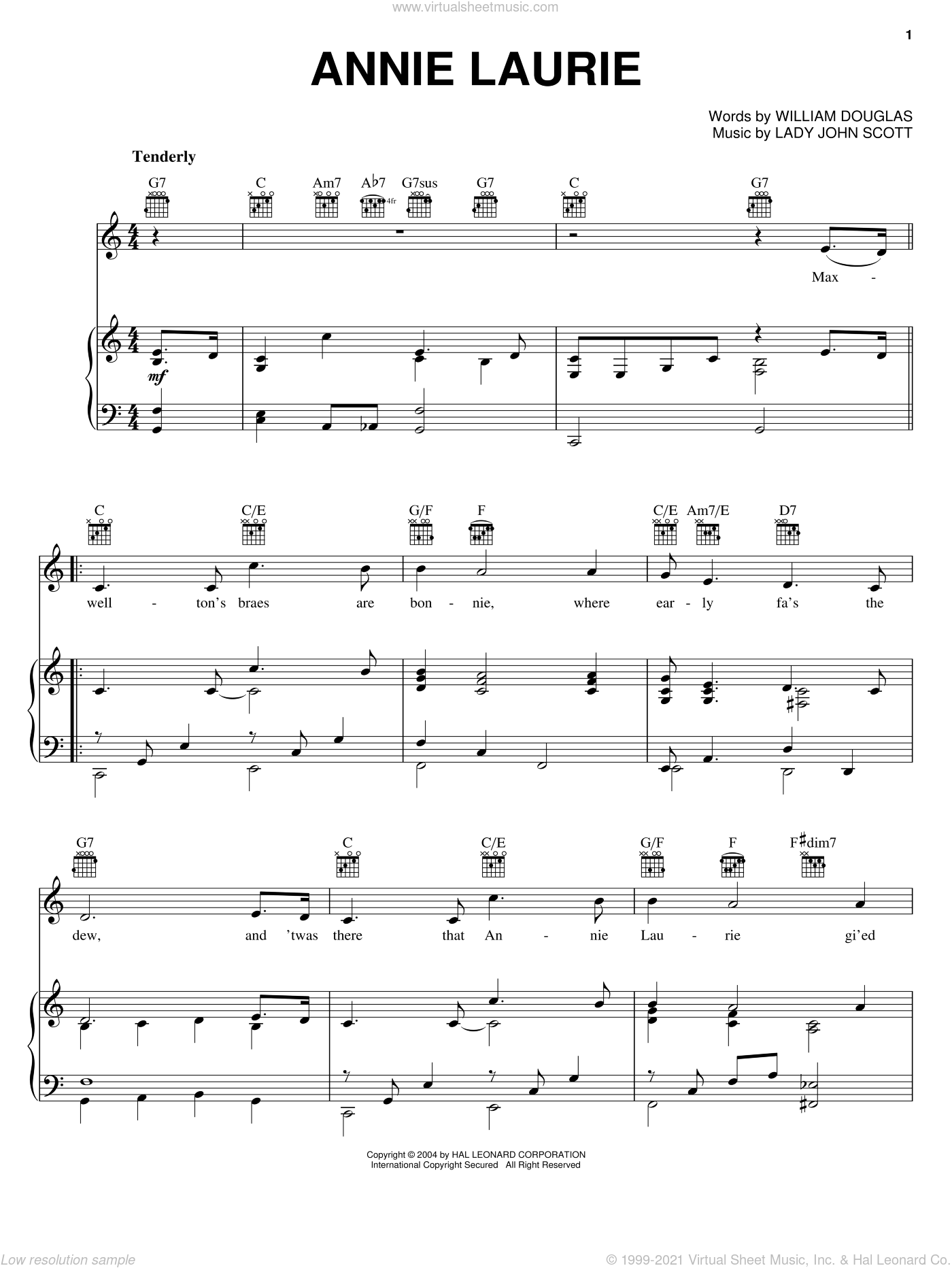 Annie Laurie sheet music for voice, piano or guitar by William Douglas and Lady John Scott, intermediate skill level