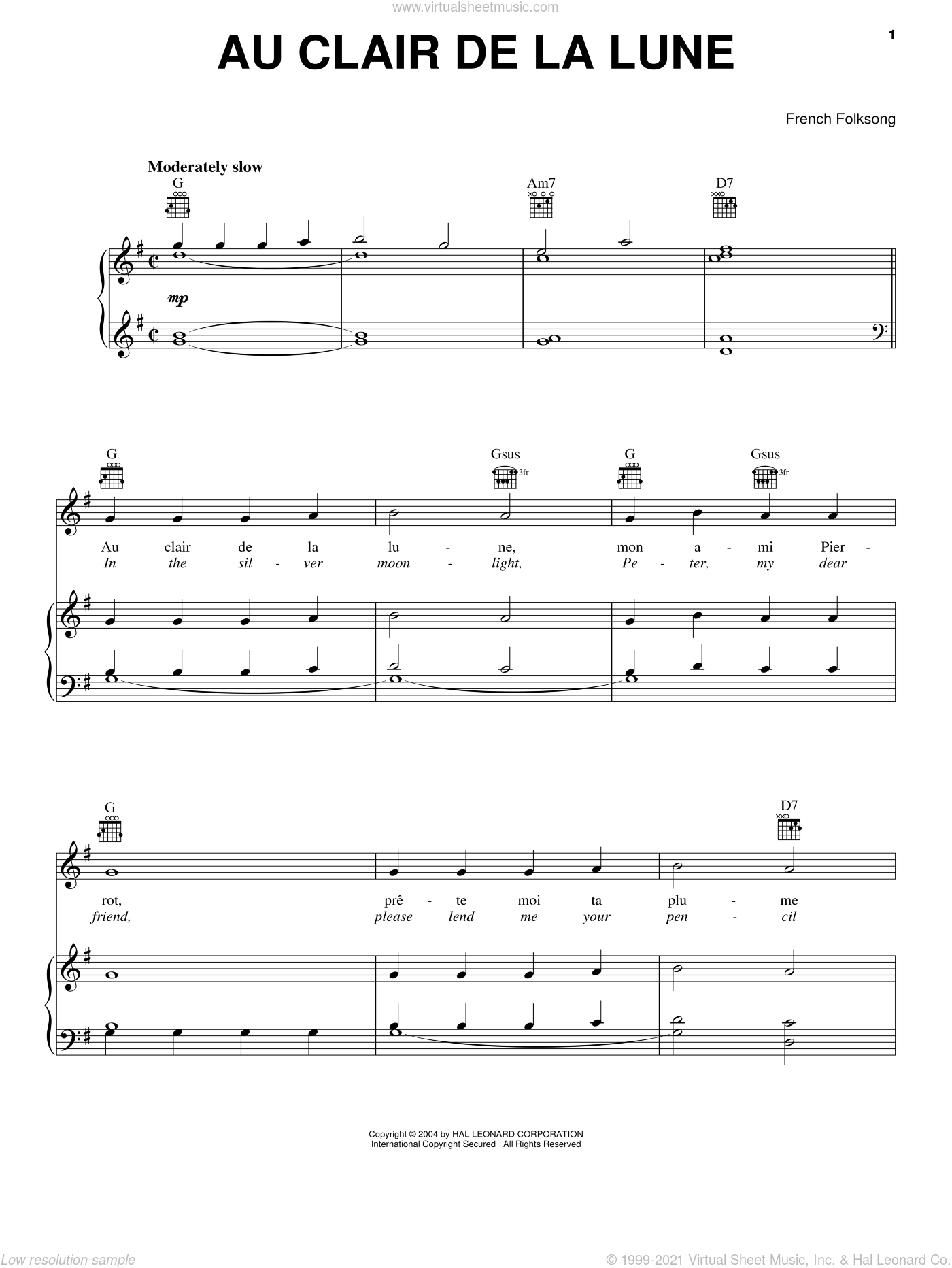 Au Clair De La Lune sheet music for voice, piano or guitar, intermediate skill level