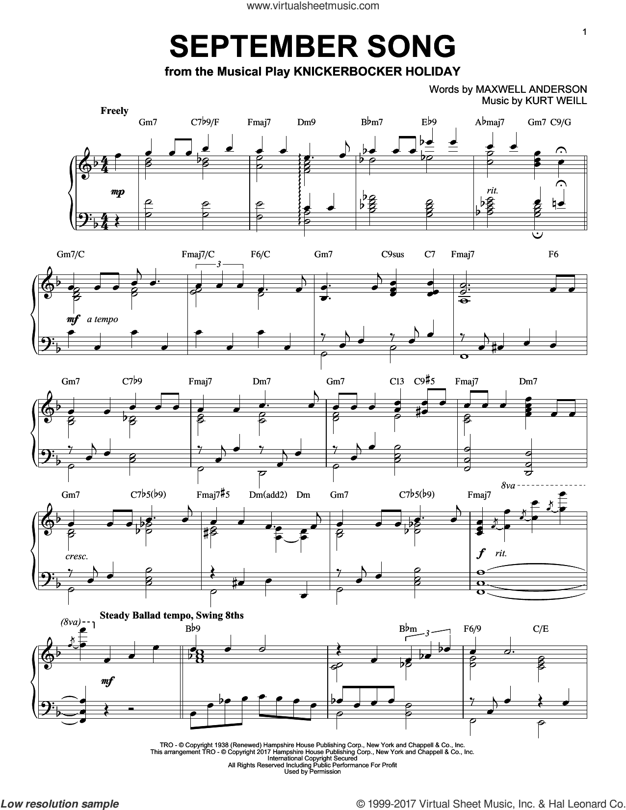 September Song [Jazz version] sheet music for piano solo by Kurt Weill, Jimmy Durante, Willie Nelson and Maxwell Anderson, intermediate skill level