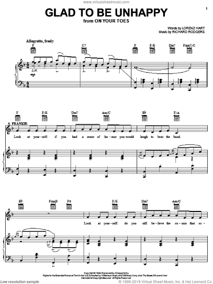 Glad To Be Unhappy sheet music for voice, piano or guitar by Richard Rodgers