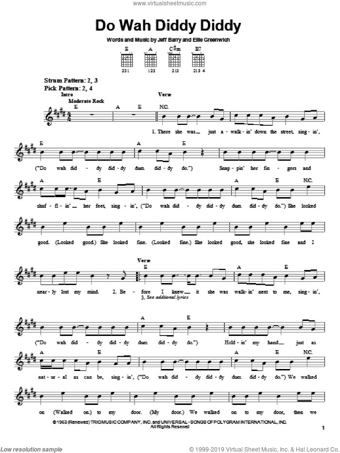 Do Wah Diddy Diddy sheet music for guitar solo (chords) by Manfred Mann, Ellie Greenwich and Jeff Barry, easy guitar (chords)