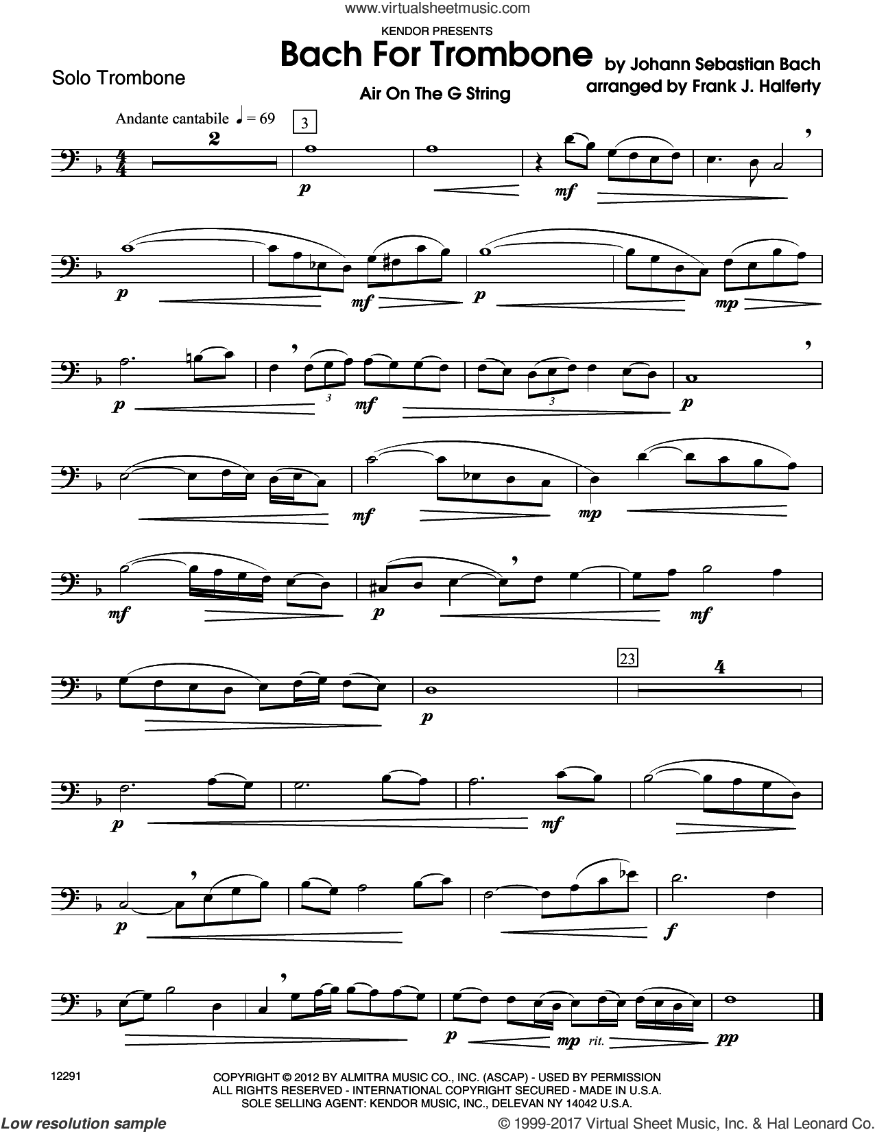 Bach For Trombone (complete set of parts) sheet music for trombone and piano by Johann Sebastian Bach and Frank J. Halferty, classical score, intermediate skill level