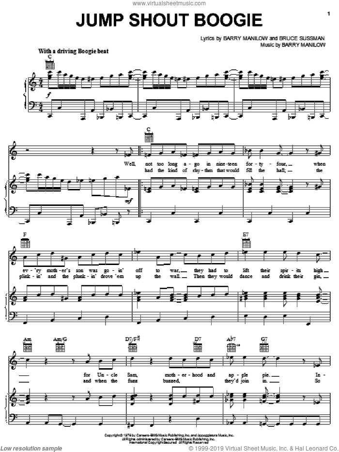 Jump Shout Boogie sheet music for voice, piano or guitar by Bruce Sussman and Barry Manilow. Score Image Preview.