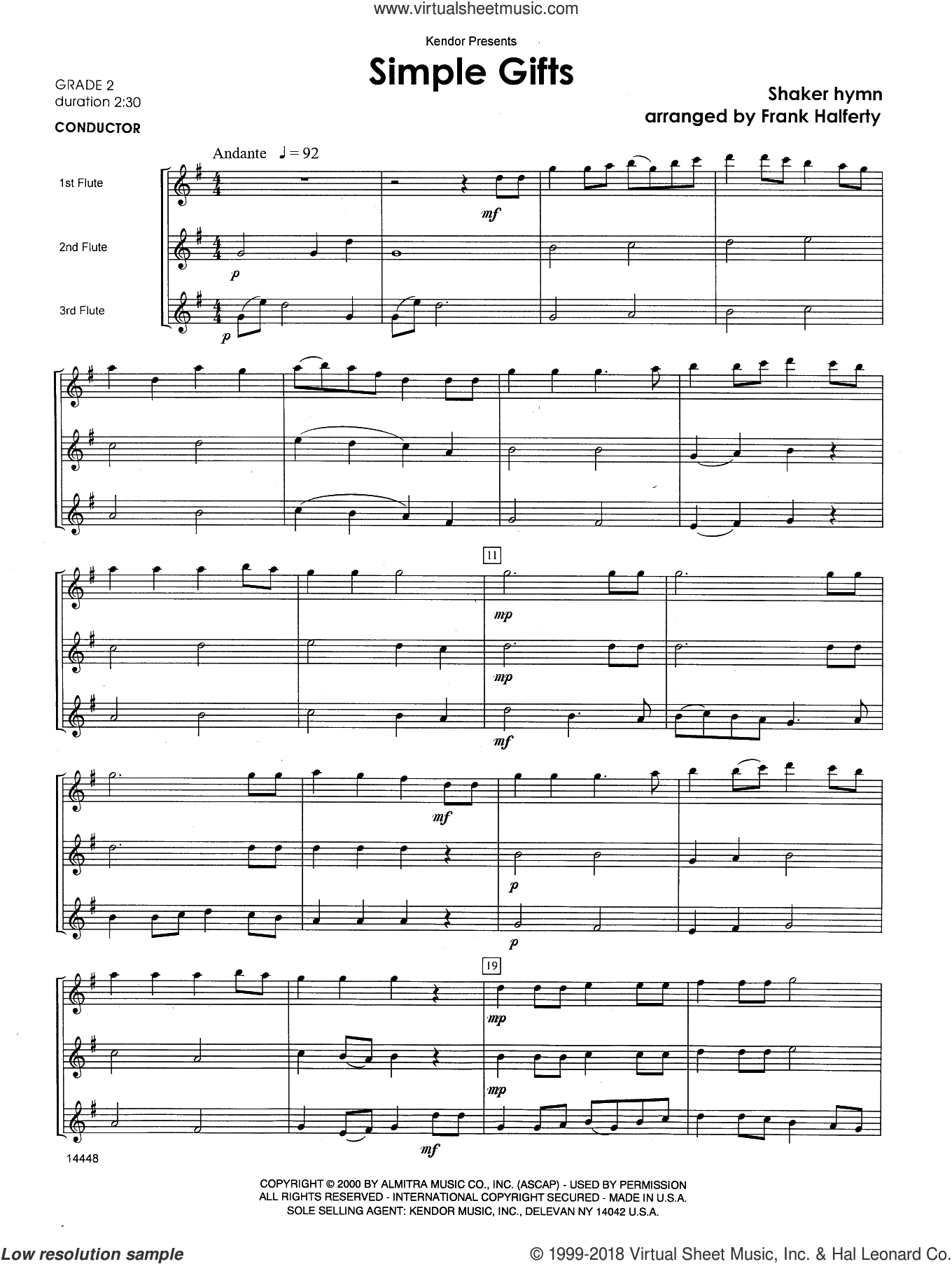 Simple Gifts (COMPLETE) sheet music for flute trio by Frank J. Halferty and Miscellaneous, intermediate skill level