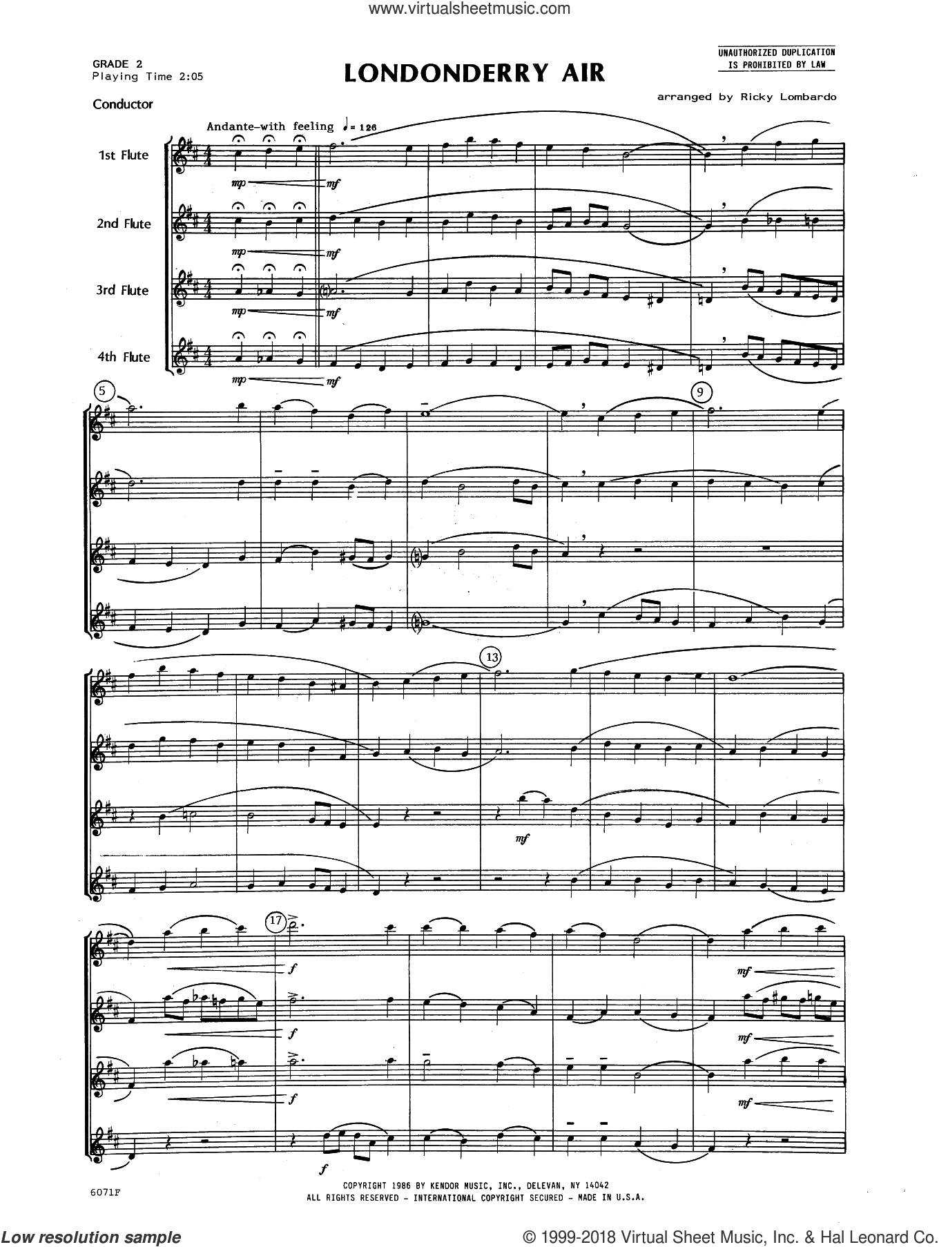 Londonderry Air (COMPLETE) sheet music for flute quartet by Lombardo and Miscellaneous, classical score, intermediate. Score Image Preview.
