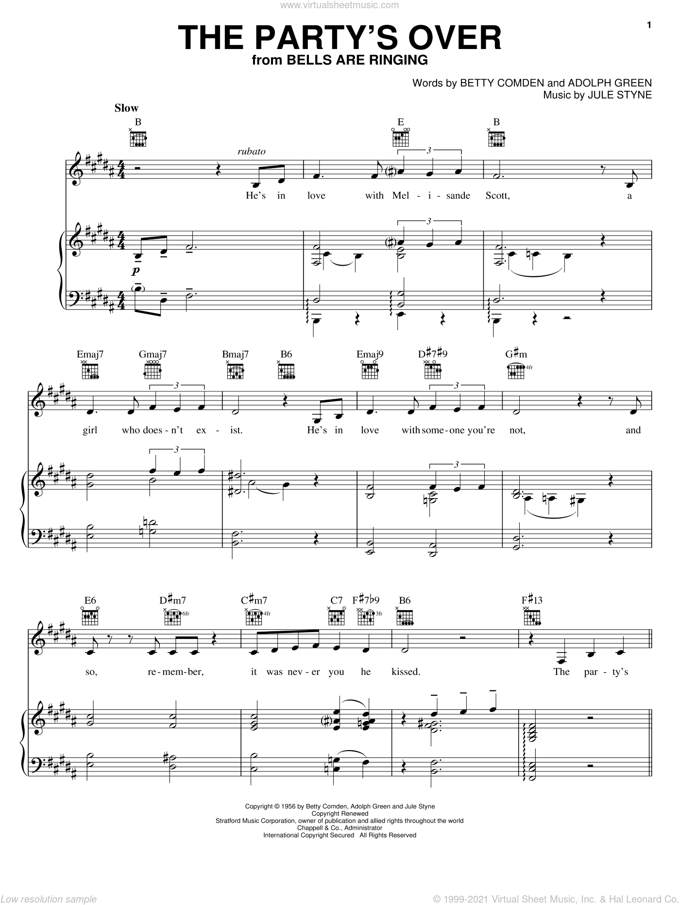 The Party's Over sheet music for voice, piano or guitar by Jule Styne, Adolph Green and Betty Comden, intermediate skill level