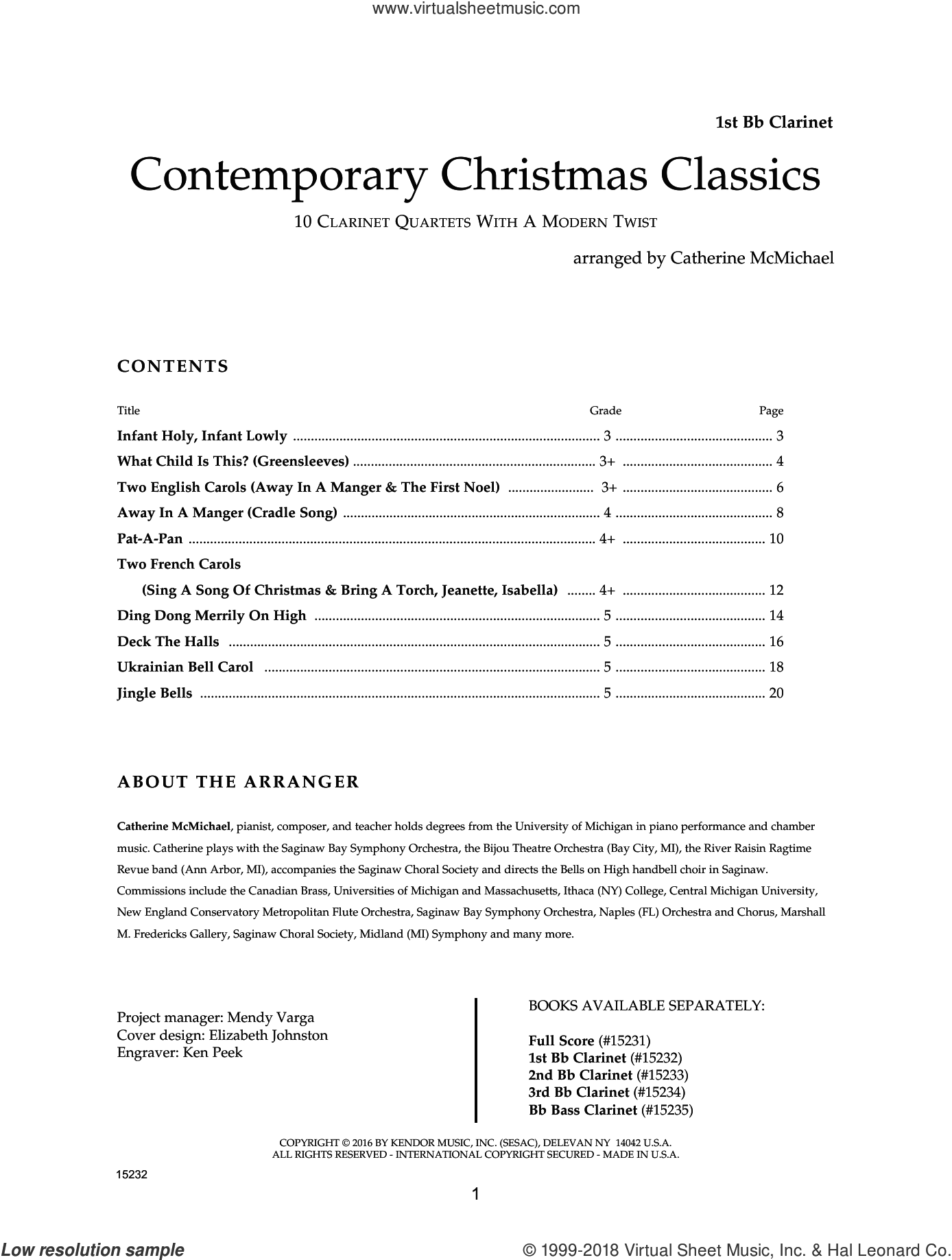 Contemporary Christmas Classics - 1st Bb Clarinet sheet music for clarinet quartet by Catherine McMichael, intermediate. Score Image Preview.
