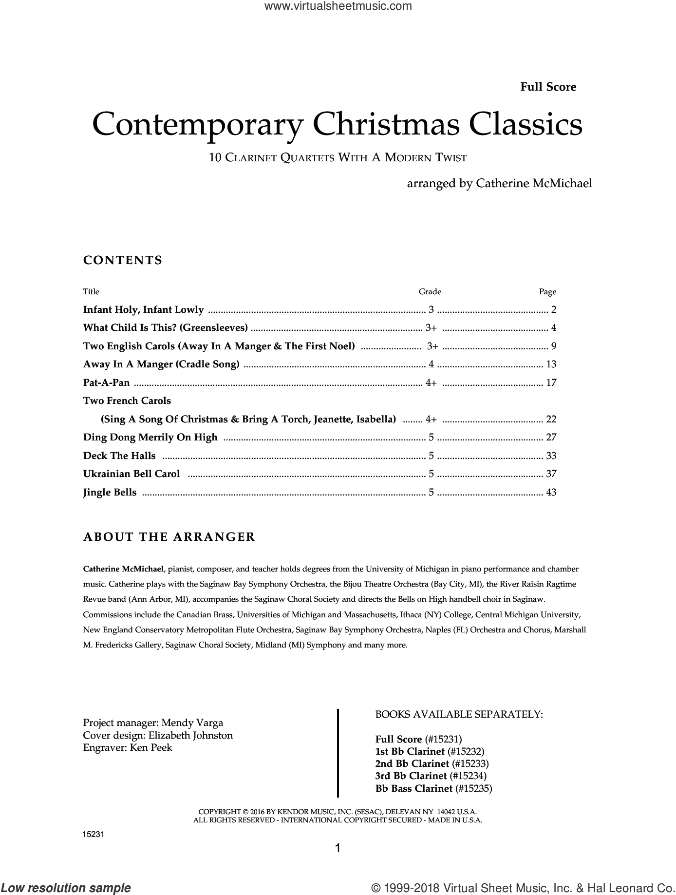 Contemporary Christmas Classics - Full Score sheet music for clarinet quartet by Catherine McMichael, intermediate skill level
