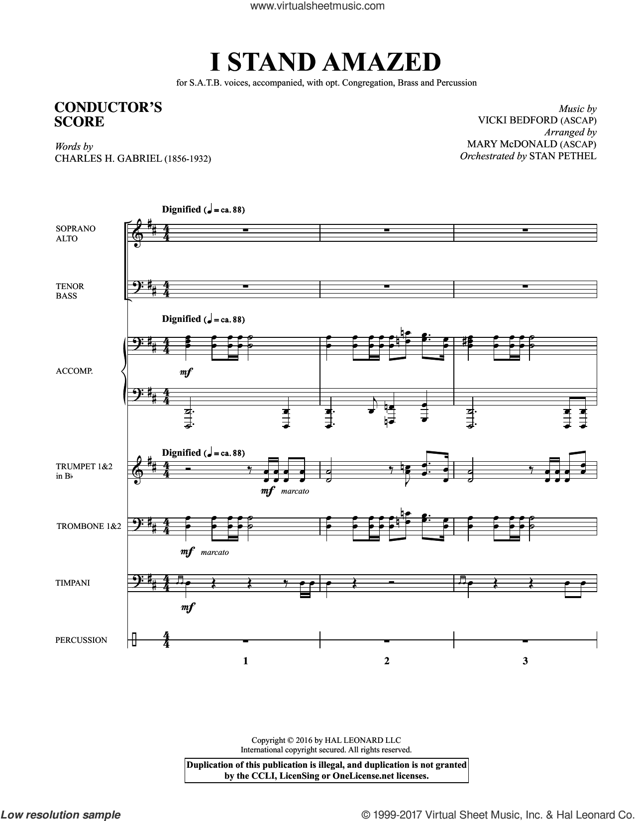 I Stand Amazed (COMPLETE) sheet music for orchestra/band by Charles H. Gabriel and Mary McDonald, intermediate. Score Image Preview.