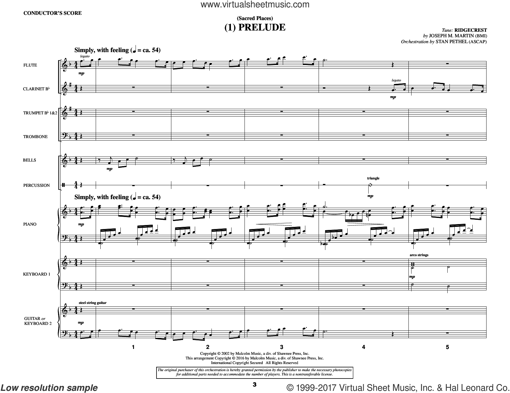 Sacred Places (COMPLETE) sheet music for orchestra/band by Joseph M. Martin, J. Paul Williams and Miscellaneous, intermediate. Score Image Preview.
